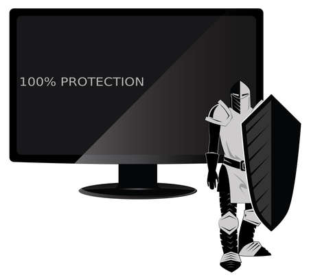 computer viruses: Picture with a computer and a knight with a shield symbolizing one hundred percent protection from viruses
