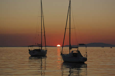 croatian sunset - marina on Pag Island photo