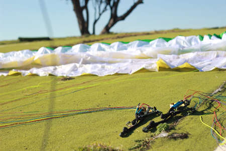 equipment and rigging being prepared for a running jump paraglide from a popular paragliding location in Manilla, rural New South Wales, Australia 14th May 2019 Stock Photo