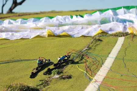 equipment and rigging being prepared for a running jump paraglide from a popular paragliding location in Manilla, rural New South Wales, Australia 14th May 2019 写真素材
