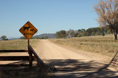 farm property cattle road crossing grid across a dry drought stricken dusty dirt road in rural New South Wales, Australia