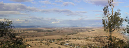Panoramic views of dry, drought stricken farm land in Gunnedah, New South Wales, rural Australia Stockfoto