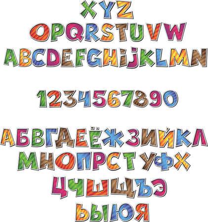 Cartoon comic font alphabet 向量圖像