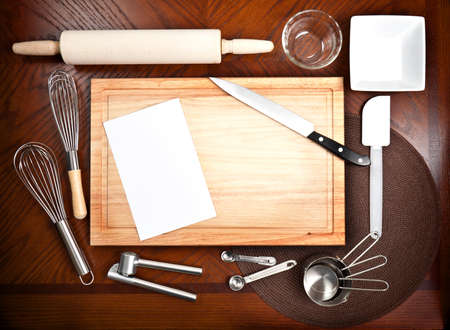 cutting tool: Cooking tools and untensils with a blank white card