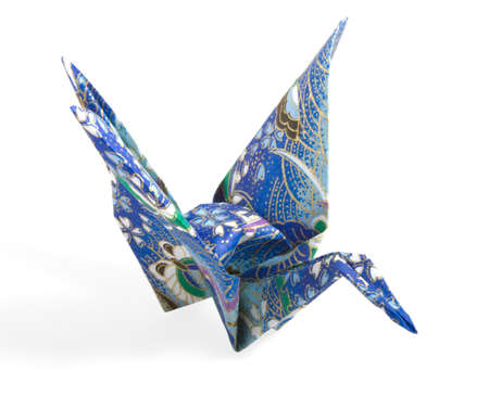 Blue and Gold Origami Crane folded with a textured paper
