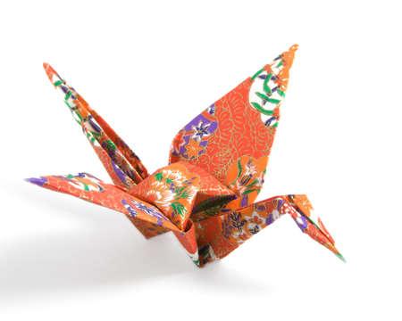 종이 접기 크레인 빨간색 꽃 패턴 종이로 접은