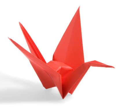 Red Origami Crane on a white background