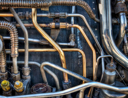 corrosion: The pipes and mechanical systems of an aircraft jet engine.  Would make a great steam punk background.