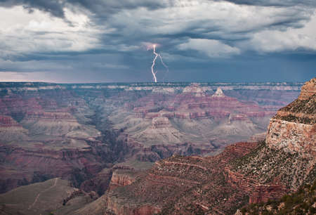 A view of the Grand Canyon during a lightning storm