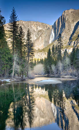 merced: Yosemite Upper Falls reflected in the Merced River