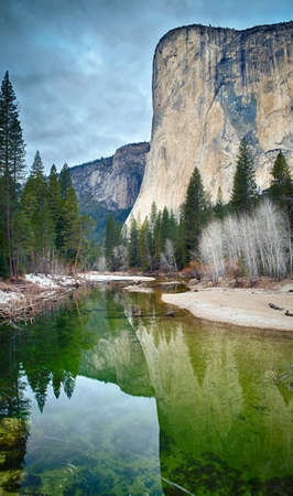 merced: El Capitan reflected in the Merced River at Yosemite National Park