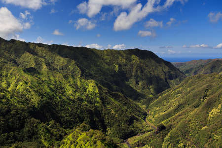ridgeline: Beautiful Green Valley and Mountains from the air in Kauai