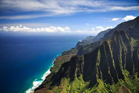 ridge of wave: Beautiful Na Pali Coastline on the Hawaiian island of Kauai