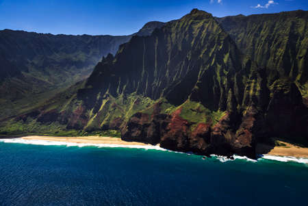 na: Aerial View of the remote Na Pali Coastline Stock Photo