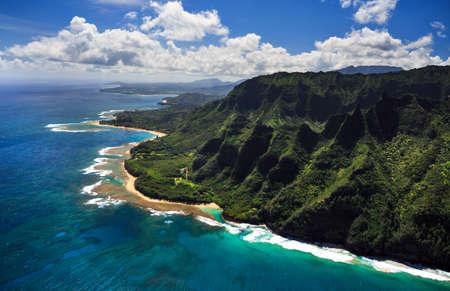 kauai: Aerial View of beach and reef system on the Hawaiian Island of Kauai Stock Photo