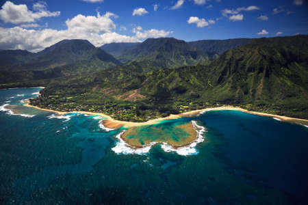 hawaii beach: Aerial View of Tunnels Beach and reef system on the Hawaiian Island of Kauai