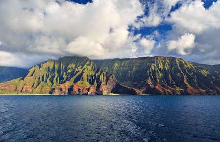 na: Beautiful Na Pali Coast as seen from off shore Stock Photo