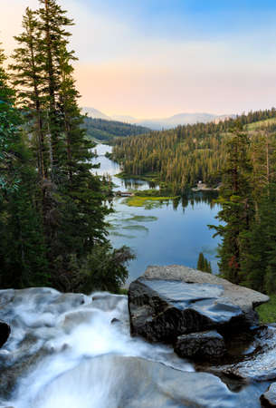 mammoth lakes: Twin lakes waterfall at sunrise near Mammoth Lakes, California