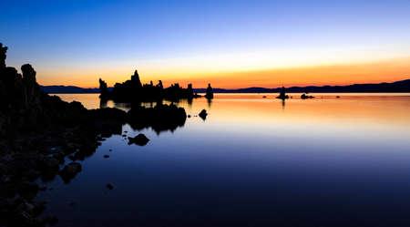 lee vining: Mono Lake at sunrise showing interesting tufa formations Stock Photo
