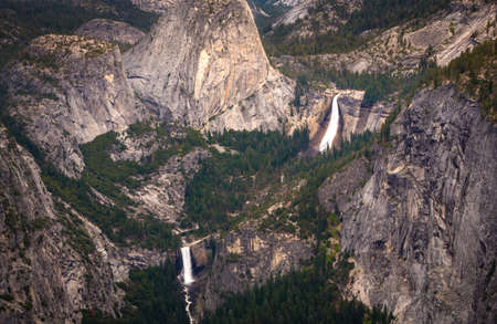 View of Vernal and Nevada Falls from the Washburn Overlook in Yosemite National Park