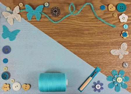 Turquoise haberdashery / craft background