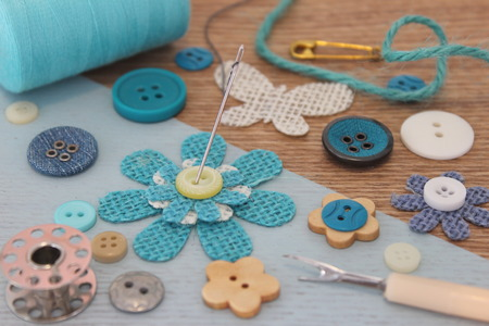 craft background: Turquoise haberdashery  craft background