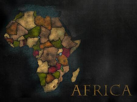 mapa de africa: Mapa continente africano en estilo de pizarra de colores con los condados Foto de archivo