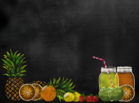 fruit Juicing theme chalkboard blackboard with copy space Stock Photo