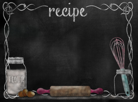 Chalkboard Recipe background with baking items and vintage style framing.