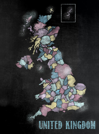 United Kingdom map in colorful chalkboard style with Counties photo