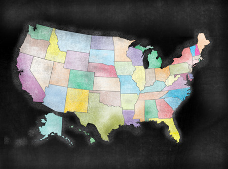 United States of America map in chalkboard style with States. Standard-Bild