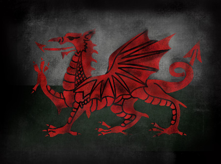 welsh flag: Bandiera gallese con drago gallese in stile illustrativo Lavagna