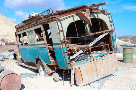 broken hill: Abandoned old truck on a hillside in the sun Stock Photo