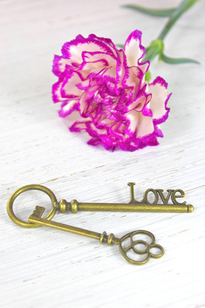 Antique keys with the word Love and a flower on white wooden background