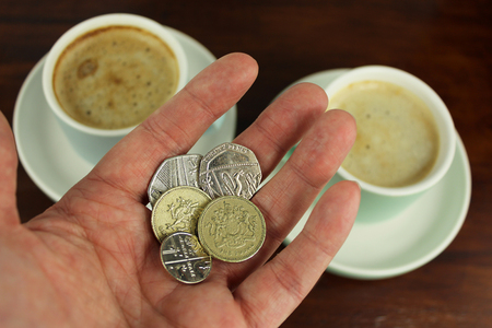 English coins, Currency in hand with two coffee  in background.