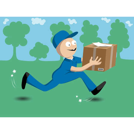 illustration of a man delivering package Stock Vector - 16724497