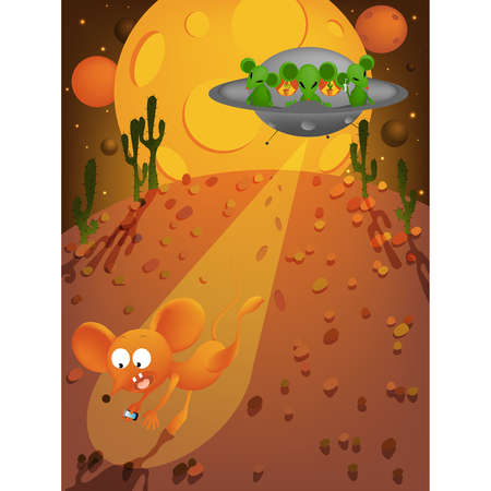 illustration of a mouse meet aliens  Vector