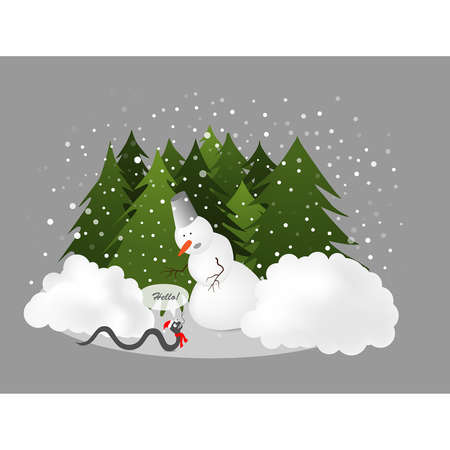 hat new year s eve:  illustration of a snowman and a snake