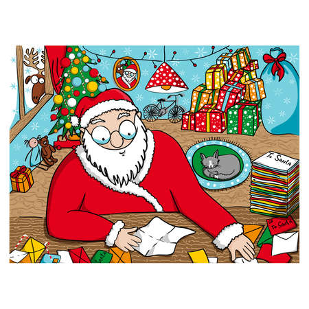 illustration of Santa Claus reading messages  Stock Vector - 16724510
