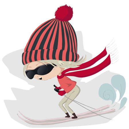 Vector illustration of a cute cartoon skiing girl