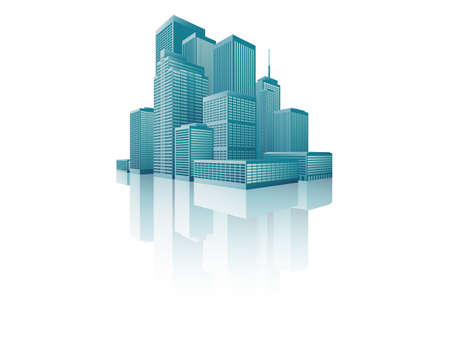 cityscape with a skyscrapers in perspective. Illustration