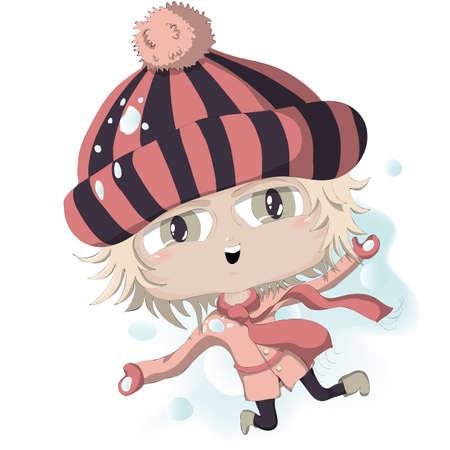 cute cartoon girl playing snowballs. Stock Vector - 17000479