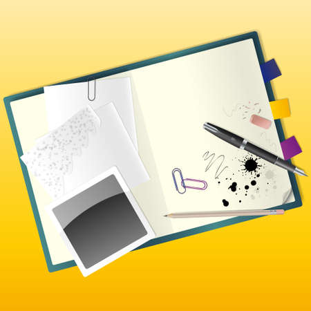 illustration of a sketchbook with a pen and a pencil. Stock Vector - 17080595