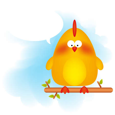 Vector illustration of a cartoon chicken with a text bubble. Vector