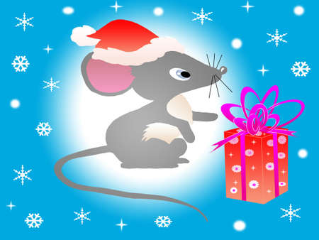 New-year mouse against the blue background under the snow Stock Photo