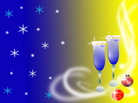 Two celebratory glasses on a gradient background Stock Photo