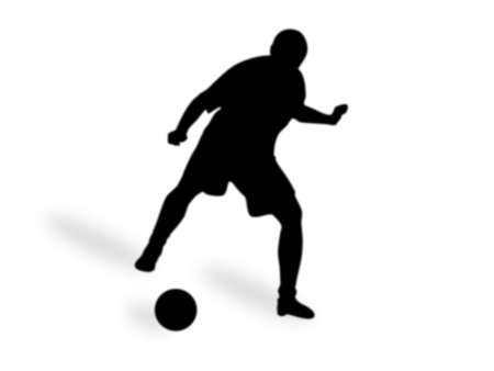 Silhouette  male playing in football, isolated on a white background. Stock Photo
