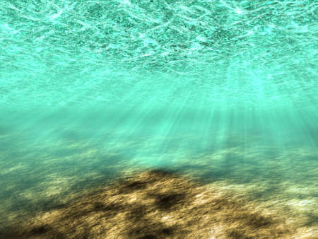 Abstract background of the underwater world with rays of light. Stock Photo