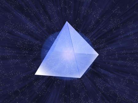 ガラスの星の空の背景に透明なピラミッド。