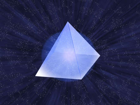 category: Glass transparent pyramid on a background of the star sky.    Stock Photo